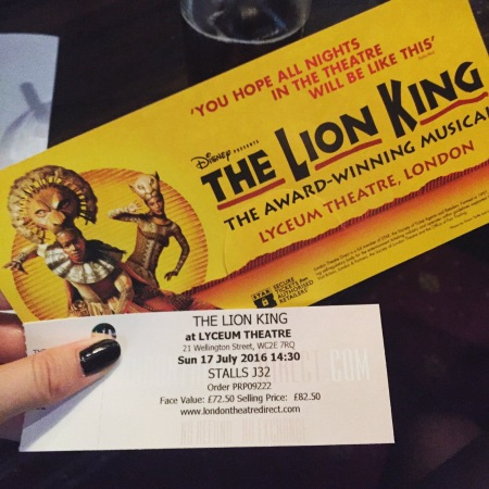 Tickets for the lion king theatre show in london